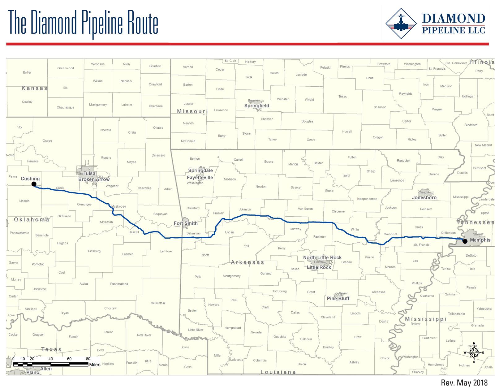 The Diamond Pipeline Route